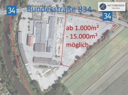 An der B34: Asphaltierte Gewerbegründe ab 1.000 - 15.000m²